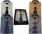 Plain Mens Boxed Shirt And Tie Set  Office Formal Businessman Style By Tom Hagan