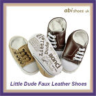 Soft Baby Faux Leather Shoe, Walker, Pram , Brown or Stone 0-18M, Little Dude