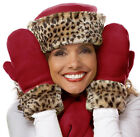Womens Wrist Mittens Fleece and Faux Fur Leopard Trim One Size Made in USA NEW
