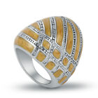 Women's Stainless Steel Yellow Enamel Cocktail Fashion Ring Jewelry Size 7 8 9