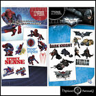 Super Hero Temporary Tattoo Pack Spiderman OR Batman Official Tattoos Choose New