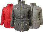 New LADIES WOMENS Plus Size Long Sleeve Quilted Belt Jacket Coat 16-26