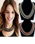 New Heavy Design Multi-color Twine Velour Metal Crystal Bib Chunky Necklace TOP