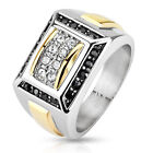 Stainless Steel Two Toned Clear CZ with Black Border Square Cast Men's Ring Band