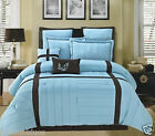 8pc Luxury Bed in a Bag Comforter Set - Broadway - Blue Brown Pillows & Shams
