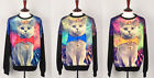 k womens graphic galaxy cat digital printed sweatshirt jumpers for x-mas