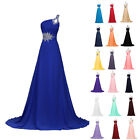 BEADED+Long Chiffon Bridesmaid Formal Evening Gown Wedding Party Prom Grad Dress