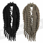 Ladies Womens Tassel Fringe Snood Soft Warm Comfortable Scarf Knitted ONE SIZE