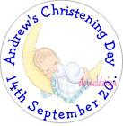 PERSONALISED CHRISTENING DAY BLUE BABY STICKER SEAL GIFT FAVOUR INVITE CDCS9