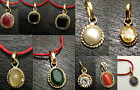 ZODIAC SEMI PRECIOUS STONE PENDANTS FOR RASHI  RATNA NAVRATAN GEM NINE PLANET OM
