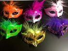 Внешний вид - 12 Mini Mardi Gras Feathered GLITTER MASK party cupcake wedding quince favor
