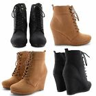 NEW WOMENS LACE UP HIGH WEDGE HEEL ANKLE BOOTS DOLCIS COMFY FASHION SHOES SIZES