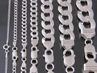 925 Sterling Silver Solid Real Men Classy Italian Cuban Curb Link Chain Real 925 image