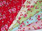 TINY LOLA Vintage Shabby Chic Pink Rose Floral Red Blue Green Cotton Fabric FQ