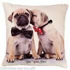 Mr & Mrs Pug Cushion | Add  own text | Valentine | Wedding | Pug Gift | Love