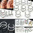 Pair Various Stainless Steel Hoops Closure Fake Cartilage Clip Ear Cuff Earring