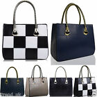 Women's Ladies Designer Faux Leather Checkered Tote Bags Shoulder Handbags