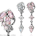 Reverse Cluster CZ Gems Dangle Belly Ring Navel Naval Clear, Pink