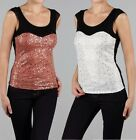 NEW WOMEN SEQUIN SCOOP NECK TOP Mesh Cap Sleeve Detail White or Mocha S M L