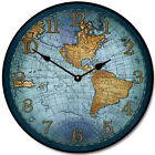 Large wall 17th Century Map Clock Blue 12