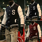 PJ Men's Handsome Stylish Slim Fit Letter S Baseball Jackets Coats 4 Size S~XL