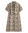 MARNI FOR H&M ZIG ZAG SILK BROWN DRESS SIZE 10 / 12 UK / 36 / 38 EU 06 US BNWT