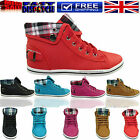 NEW WOMEN LADIES ANKLE BOOTS GIRLS HIGH TOP CUF TRAINER FLAT SHOE SIZE 3-8