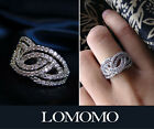 18K White Gold Plated Wedding Engagement Micro Set Crystal Ring R451