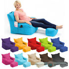 Large Indoor Outdoor Bean Bag Garden Chair & Foot Stool Lounger Gamer Waterproof
