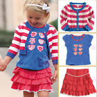 NWT Girls Tea Party Tee Ruffle Skirt Cropped Striped Cardigan Outfit SZ 18M-5/6