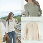 Womens Slim Casual Stand-up Collar Chiffon Long Sleeve T-Shirts Tops F2328 FKS