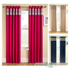 Thermal Blockout Eyelet Ring Top Curtains Light Reducing Ready Made Stripe Panel