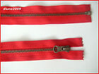 RED ZIP/ METAL OLD SILVER TEETH OPEN ENDED.Different Sizes.(79-45 cm)