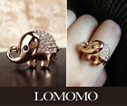 Lucky Elephant Adjustable Ring with Swarovski Crystals,18K Rose Gold Plated R457