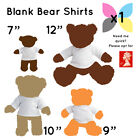 1 x BLANK WHITE TEDDY SOFT TOY T SHIRT FOR SUBLIMATION / TRANSFER WHOLESALE BULK