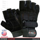Weight Lifting Gloves Gym Fitness Training Body Bulidling Double Straps  M,L,XL