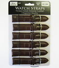 Wholesale Lot 6 x Genuine Padded Croco Grain Leather Watch Straps Brown- Regular