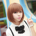 Fashion New Womens Short BOB Straight Hair Full Ladies Cosplay Costume Wig Brown