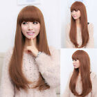 Fashion Womens Long Wavy Curly Hair Straight Bangs Ladies Cosplay Party Full Wig