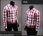 Spring models selling Korean Slim plaid shirt casual men's long-sleeved shirt