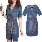 NEW Womens Short Sleeve Denim Mini Dress With Belt Summer Beach Party Dress