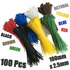 100 Cable Ties 100mm x 2.5mm - PICK YOUR COLOUR! - Zip Tie Cable / Wire Tidy