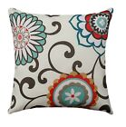 Pom Pom Play Peachtini Outdoor Throw Pillow Brown, Raspberry, Teal, Aqua, Gray