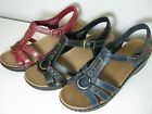 Ladies Clarks Odette Sumac Leather T-Bar Wedge Sandals D Fitting