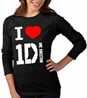 1D ONE DIRECTION GROUP  I LOVE 1D T-SHIRT RAGAZZE E DONNA MANICA LUNGA SAGOMATA