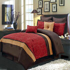 8pc Luxury Comforter Set Atlantis Red Bedding Set with Pillows and Shams