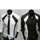 New Classic Mens Comfy Cotton Fitted Button Down Patched Casual Shirts 4 Size