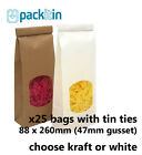 x25 SMALL Kraft Brown or White Gusset Window Bags with tin tie - 250g size