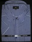 COTTON VALLEY NAVY GREY STRIPE TWIN POCKET SHIRT 2XL TO 8XL