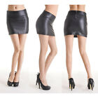 Black Women's Sexy Stretch Faux Leather Tights Mini Skirt Pencil Dress Bodycorn